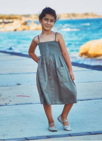 Kids Strap Casual Khaki Dress