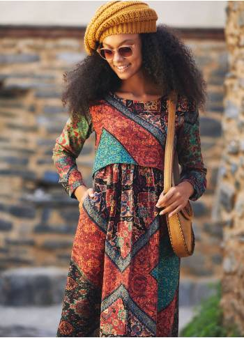 Boat Neckline Ruffle Detailed Long Sleeve Ethnic Print Midi Dress