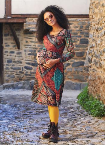 Floral Print Boat Neck Mid-Length Long Sleeve Boho Maternity Dress