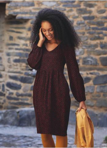 V Neckline Puff Long Sleeve Short Dress