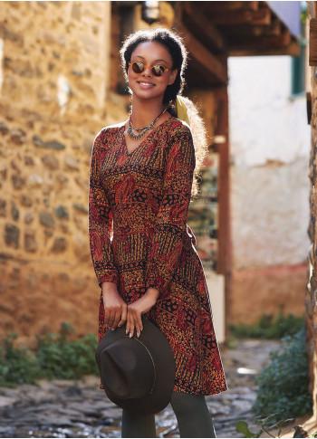 Boho Style Sash Tie Long Sleeve Short Dress