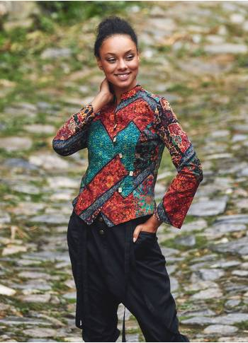 Mandarin Collar Asymmetrical Slim Cut Black Babil Shirt