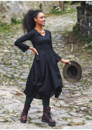 Boho Big Pockets Tie Waist V Neckline Black Dress