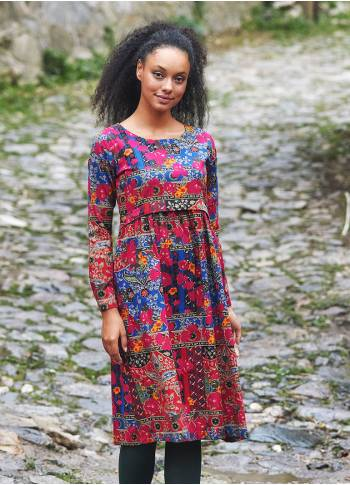 Boat Neckline Ruffle Detailed Long Sleeve Floral Print Midi Dress