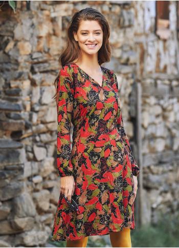 Sash Detailed V Neck Long Sleeve Flared Red Leaf Dress