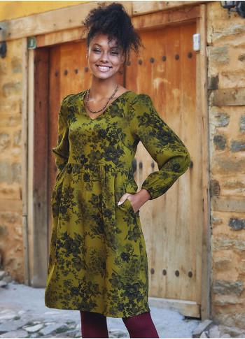 Floral Print Puff Long Sleeve V Neck Short Dress