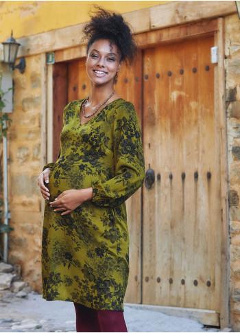 Floral Print V Neck Puff Long Sleeve Maternity Dress