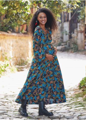 Maternity Turquoise Leaf Boat Neck Spanish Sleeve Women's Dress