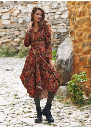 Black Artuk V Neckline Long Sleeve Dress