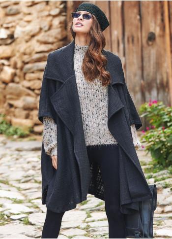 Boho Style Half Sleeve Oversized Black Jacket