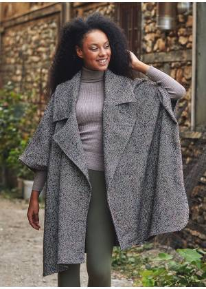 Boho Style Wide Collar Oversized Brown Jacket