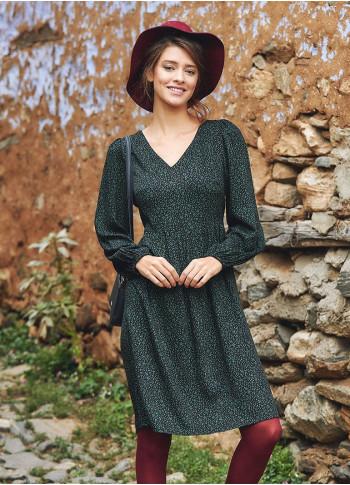 Boho Style V Neck Puff Long Sleeve Short Dress