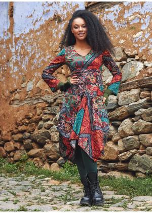 Black Babil V Neckline Long Sleeve Dress