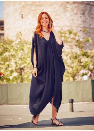 Deep V Neck Line Loose Fit Wholesale Black Cold Shoulder Dress