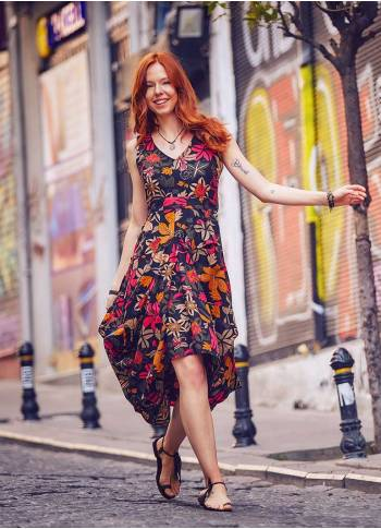 Floral Print Asymmetrical Hem Sleeveless Dress