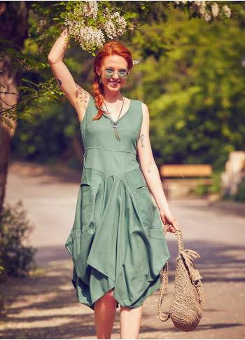 Balloon Skirt Tie Waist Sleeveless Green Dress