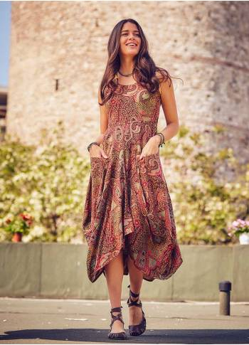 Paisley Print Sleeveless V Neckline Brown Dress