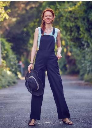 Adjustable Buckle Straps Overall Black Jumpsuit