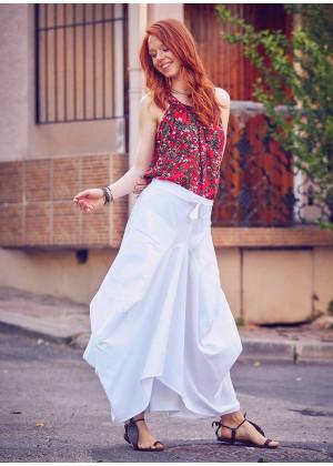 Oversized Pocket Detailed Tie Waist Boho Chic White Long Skirt