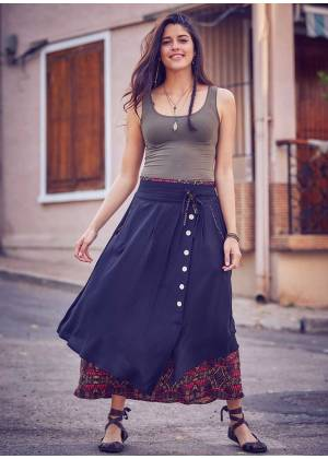 Double Layered Tie Waistband Maxi Wrap Gypsy Skirt