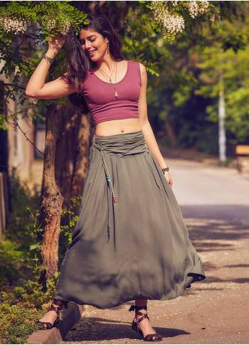 Draped Waist Khaki Long Boho Skirt