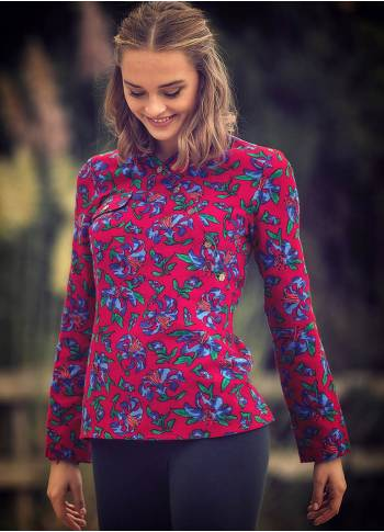 Mandarin Collar Long Sleeve Red Shirt Top