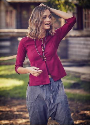 Crew Neck 3/4 Sleeve Button Down Red Shirt