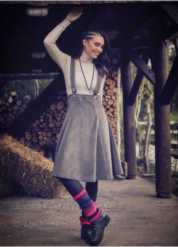 Adjustable Straps Cord Velvet Gilet Khaki Dress