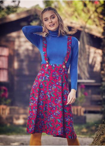 Applique Adjustable Straps Floral Gilet Red Dress