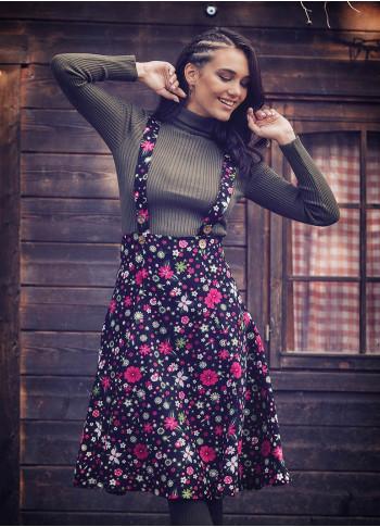 Applique Adjustable Straps Floral Gilet Pink Dress