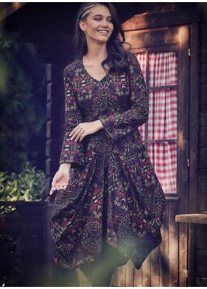 Ethnic Print Asymmetrical Hem Long Sleeve Dress