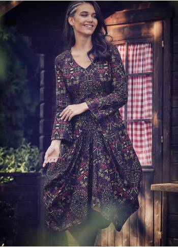Ethnic Print Asymmetrical Hem Long Sleeve Dress