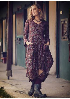 Retro Printed Asymmetrical Hem Long Sleeve Dress