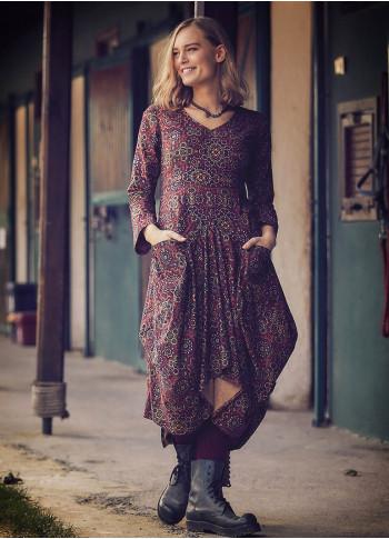Retro Printed Asymmetrical Hem Long Sleeve Dress