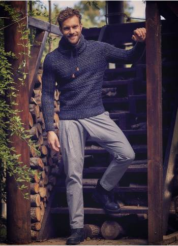 Wrap Front Medium Rise Slim Fit Gray Trousers