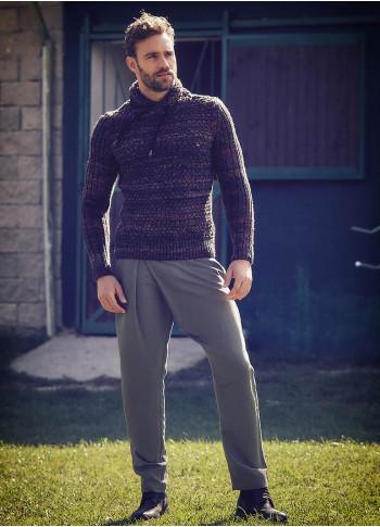 Wrap Front Medium Rise Slim Fit Khaki Trousers