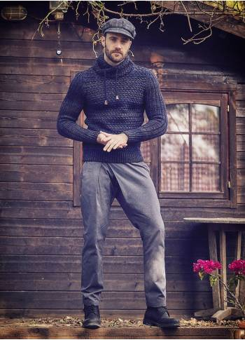 Wrap Front Medium Rise Slim Fit Dark Grey Trousers
