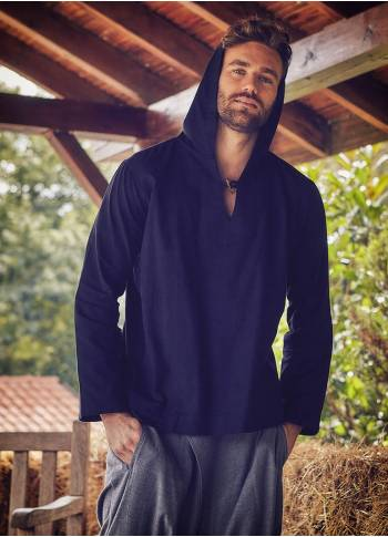 Wooden Buttoned Men's Hoodie Black Long Sleeve Shirt
