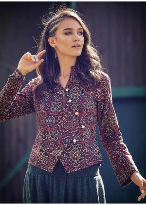 Retro Slim Cut Long Sleeve Mandarin Collar Shirt