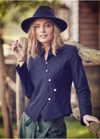 Asymmetric Front Slim Cut Long Sleeve Black Shirt