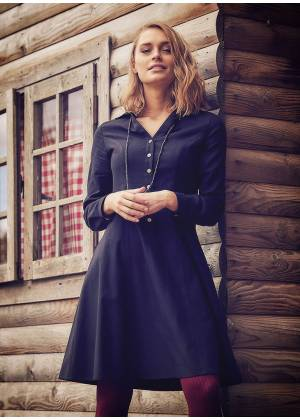 Long Sleeve Knee Length Gypsy Style Wholesale Black Shirt Dress