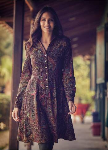 Long Sleeve Paisley Pattern Knee Length Wholesale Shirt Dress