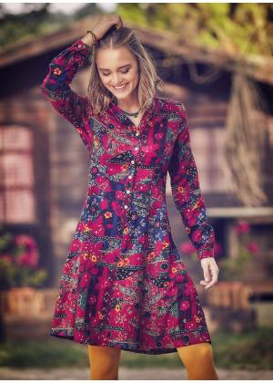 Shirt Collar Floral Print Gypsy Wholesale Fit And Flare Dress