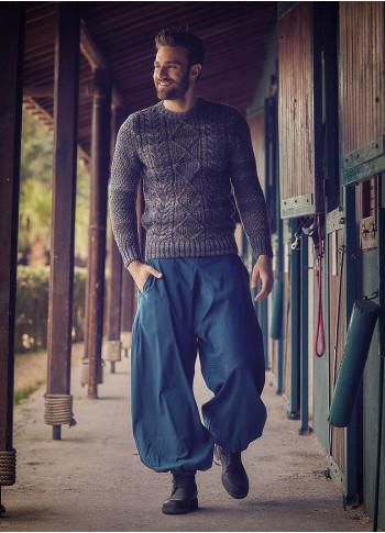 Elastic Waist and Hem Men's Harem Petrol Pants