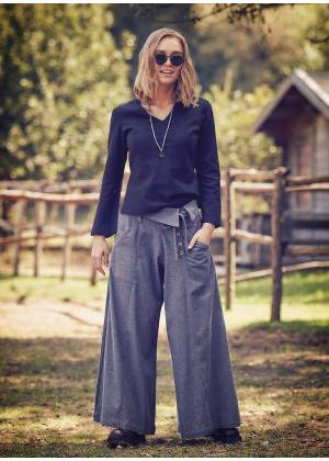 Button Closure Banded Waist Low Rise Grey Culottes