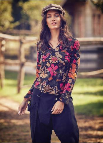 Floral Print V Neckline Long Sleeve Blouse Top