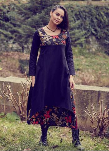 Floral Print Double Layered Winter Dress