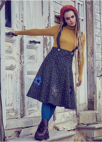 Applique Adjustable Straps Floral Gilet Blue Dress
