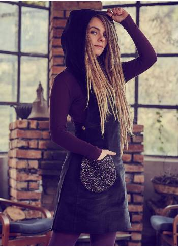Adjustable Waist Sleeveless Hoodie Velvet Black Dress