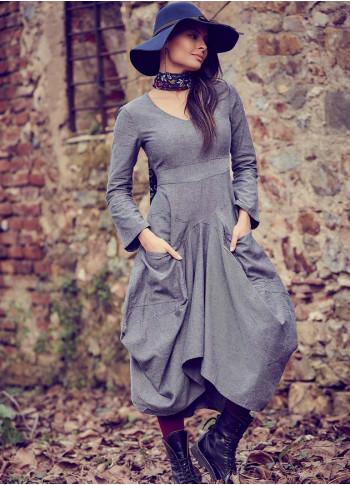 Asymmetrical Hem Tie Waist Long Sleeve Gray Dress